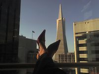 Red shoes in the city