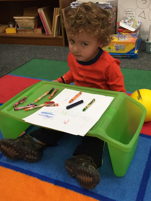 Playing in grandma's classroom